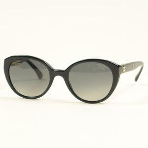 Chanel Black CC Coco Logo Polarized Sunglasses